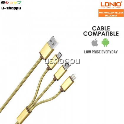 LDNIO LC85C 3.4A 3IN1 Lightning iPhone, Micro USB Android and Type-C Fast Charging Cable
