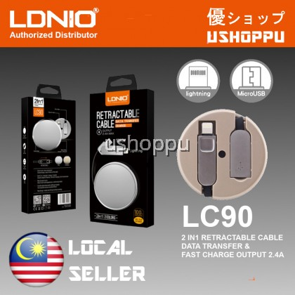 LDNIO LC90 2.4A High Speed Lightning & Micro USB Data Retractable 2 In 1 Cable For Iphone & Android Phones