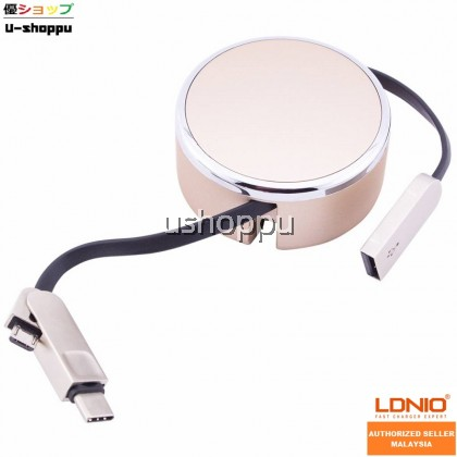 LDNIO LC90C 2.4A High Speed Micro USB & Type-C Data Retractable 2 In 1 Cable