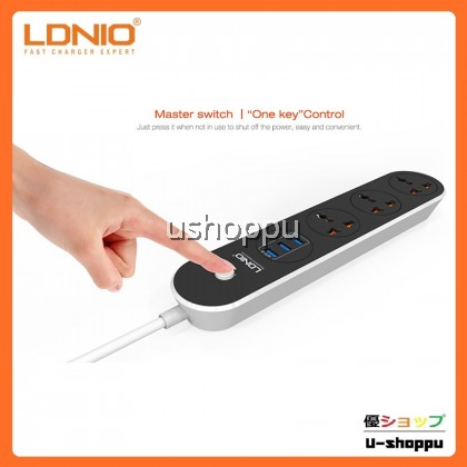 LDNIO SC3301 Power Strip 3 Universal Plug with 3 USB Output 3.1A & 1.6m UK Plug Suitable For Home and Office Use