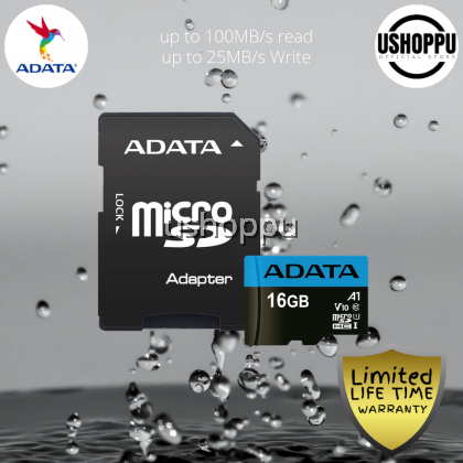 ADATA Premier 16GB MicroSDHC/SDXC UHS-I Class 10 V10 A1 Memory Card with Adapter Read up to 100 MB/s