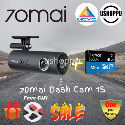 70Mai Dash Cam 1S DashCam Recorder Camcorder 1080p Night Vision Wide Angle G-Sensor Loop Recording Voice Control (2020)