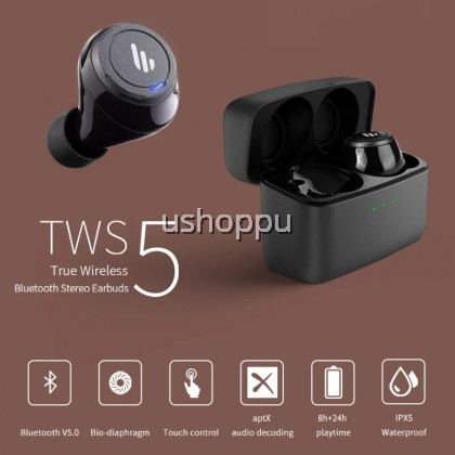 Edifier TWS5 True Wireless Earbuds - Up to 32 Hour Battery Life with Mic and Charging Case, Bluetooth v5.0 aptX, IPX5 Splash & Sweatproof, Easy Pairing - Black (English Version Original Malaysia 1 Year Warranty)