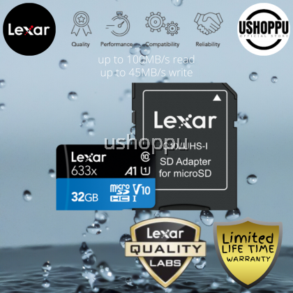 Lexar 32GB High-Performance 633x microSDHC/ microSDXC UHS-I Class 10 V10 A1 Memory Card with Adapter Read up to 100 MB/s