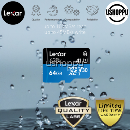 Lexar 64GB High-Performance 633x microSDHC/ microSDXC UHS-I Class 10 V10 A1 Memory Card with Adapter Read up to 100 MB/s