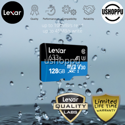 Lexar 128GB High-Performance 633x microSDHC/ microSDXC UHS-I Class 10 V10 A1 Memory Card with Adapter Read up to 100 MB/s