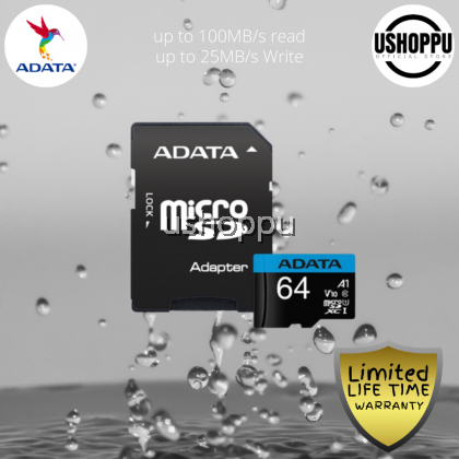 ADATA Premier 64GB MicroSDHC/SDXC UHS-I Class 10 V10 A1 Memory Card with Adapter Read up to 100 MB/s